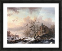 Castle in a Winter Landscape and Skaters on a Fozen River Picture Frame print