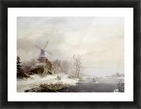 Winter landschap met gehucht, windmolen en figuren Picture Frame print