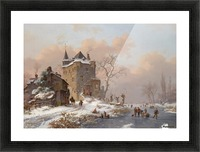 Skaters near a castle on a wintry day Picture Frame print