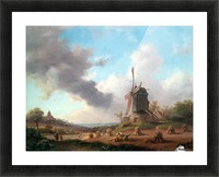 Summer Landscape with Harvesting Farmers Picture Frame print