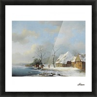 Wood Gatherers in a Snowy Landscape Picture Frame print