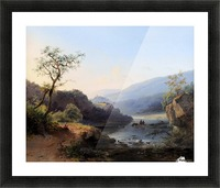 Landscape with lake and figures Picture Frame print