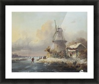 Skaters by a windmill Picture Frame print