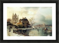 Dutch winter landscape with skaters Picture Frame print