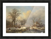 Winter landscape with children playing on the ice Picture Frame print