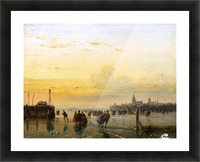 Winter Landscape with Skaters on a Frozen River Picture Frame print