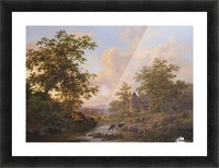 A sunlit river landscape with shepherds resting near a stream Picture Frame print