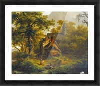 Tranquil landscape with women washing by a stream with cattle and sheep resting Picture Frame print