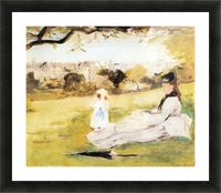 Woman and child sitting in a field by Morisot Picture Frame print