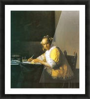 Woman in yellow by Vermeer Picture Frame print