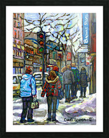 DOWNTOWN MONTREAL WINTER SCENE SHOPPERS ON ST. CATHERINE STREET Picture Frame print