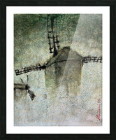 Windmills in the fog Picture Frame print