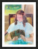 Young girl reading by Cassatt Picture Frame print