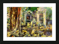 CAMBODIA Angkor Wat oil painting in Vincent van Gogh style. 148 Picture Frame print