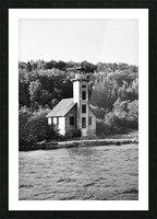 Grand Island Light house BW Picture Frame print