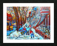 HOCKEY ON DEBULLION MONTREAL WINTER SCENE Picture Frame print