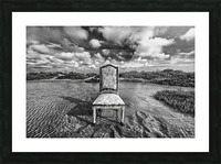 Chair in pool of water - B&W version Picture Frame print