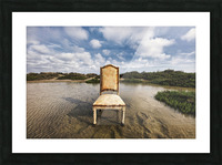 Chair in a pool of water - color version Picture Frame print
