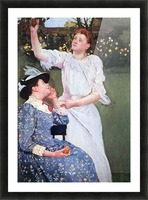 Young woman picking fruit by Cassatt Picture Frame print