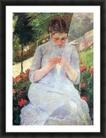 Young woman sewing in the garden by Cassatt Picture Frame print