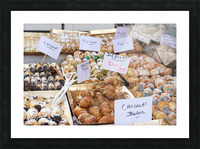 Desserts at market in France Picture Frame print