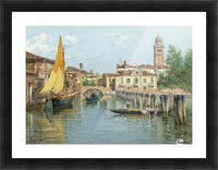 Gondolas on a canal in Venice Picture Frame print