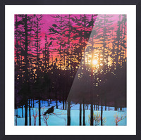 Crows at Sunset Picture Frame print