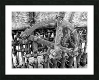 Antique Ploughing Machinery Black and White Picture Frame print