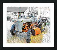 Ferguson Tractor and Hand Roller Picture Frame print