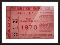 1970 Notre Dame Football Student Season Ticket Art Picture Frame print