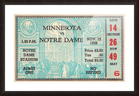 1938 Minnesota vs. Notre Dame Football Ticket Canvas Picture Frame print