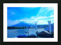 Blue Day Mount Pilatus on the Shores of Lake Lucerne   Central Swiss Alps Picture Frame print
