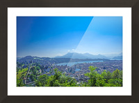 Stunning View Musegg Wall to Chapel Bridge to Lucerne and the Alps   Lucerne Switzerland Picture Frame print