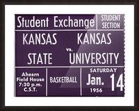 1956 Kansas State vs. Kansas Basketball Ticket Remix Art Picture Frame print