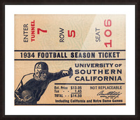 1934 USC Football Season Ticket  Picture Frame print