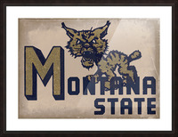Vintage Montana State Bobcat Art Picture Frame print