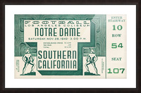 1942 USC vs. Notre Dame Football Ticket Canvas Picture Frame print