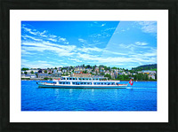 Cruise Boat On Lake Lucerne with City in Background in Switzerland Picture Frame print
