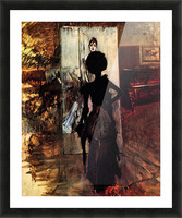 Woman in front of the painting White pastel picture by Giovanni Boldini Picture Frame print
