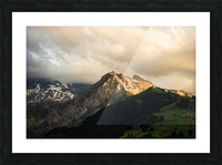 Mountain Bathed in the Golden Rays of the Sun at Sunset in Switzerland 1 of 3 Picture Frame print