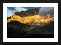 Mountain Bathed in the Golden Rays of the Sun at Sunset in Switzerland 2 of 3 Picture Frame print