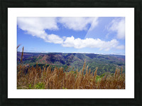 Beautiful View to Distant Waipoo Falls in Waimea Canyon on the Island of Kauai Picture Frame print
