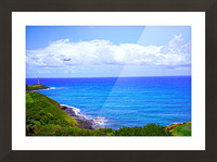 Hawaiian Airlines Flight Landing at Lihue Airport on the Island of Kauai Picture Frame print