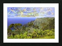 Sunset at Puu O Kila Lookout Kohala Mountains on the Island of Kauai in Hawaii Picture Frame print