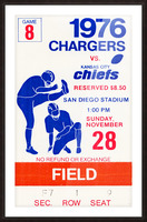 1976 San Diego Chargers vs. Kansas City Chiefs Picture Frame print