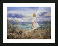 Girl At The Ocean Beach Art Painting Picture Frame print