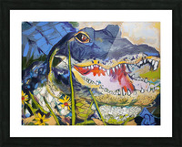 Louisiana Alligator with Wildflowers Picture Frame print