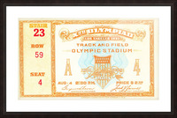 1932 Olympic Track and Field Ticket Stub Art Picture Frame print