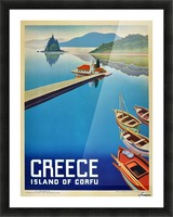 Island of Corfu, Greece Vintage Travel Poster Picture Frame print