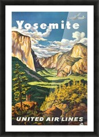 Yosemite United Air Lines travel poster Picture Frame print